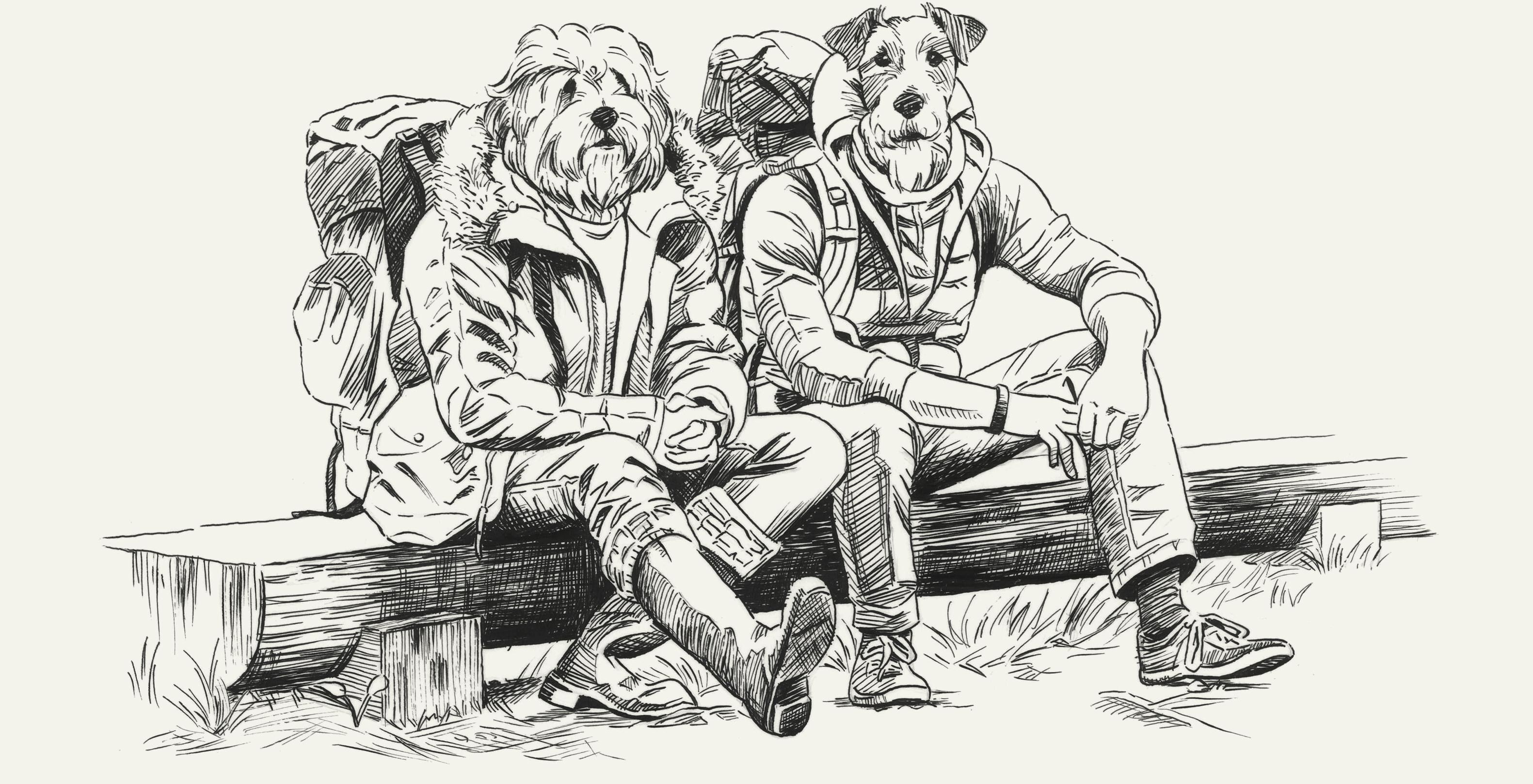 ベンチに座る犬デッサンイラスト